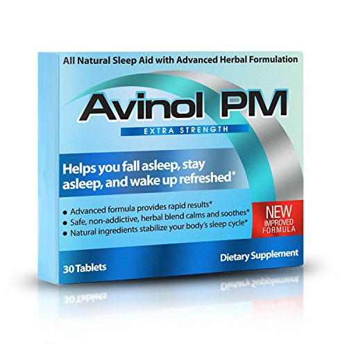 Avinol PM Extra Strength | All-In-One Natural Sleep Aid for Deep Restful Sleep - Relieve Insomnia & Jet Lag (30 ct) (Best Sleep Aid For Plane)