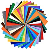 Permanent Backed Adhesive Vinyl Sheets - 12in x 12in - 40 Sheets in Assorted Colors - Glossy and Matte - Works with Cricut, Silhouette, and Other Cutters - Indoor and Outdoor Usage