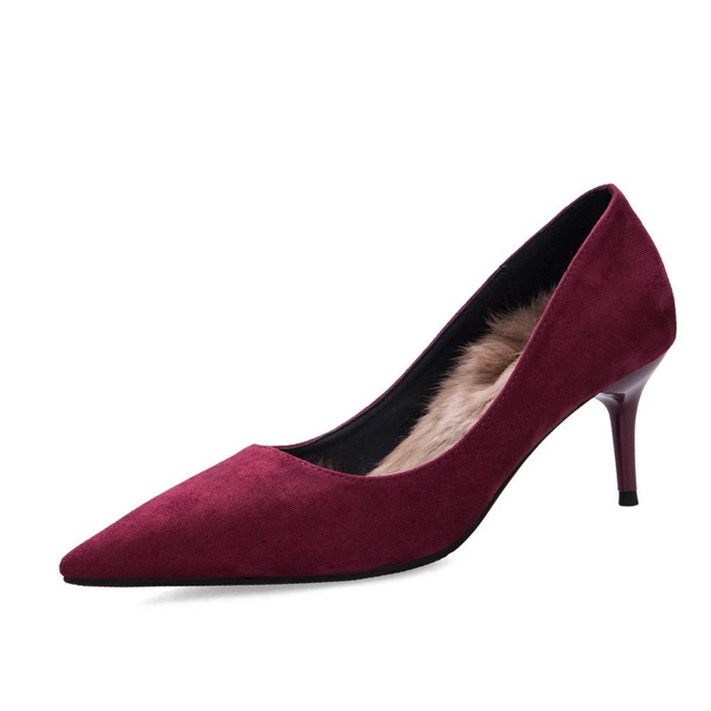 UENGF High Heel Winter Pumps High Heels Schuhe Damen Slides Slip-On-Toe-Sandalen