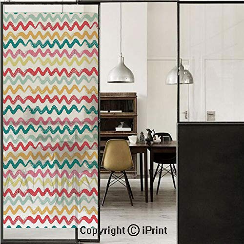 (Striped Decor 3D Decorative Film Privacy Window Film No Glue,Frosted Film Decorative,Pop Art Parallel Wavy Rough Lines Flush Brush Strokes Shaggy Groovy Boho Decor,for Home&Office,23.6x70.8Inch Multi )