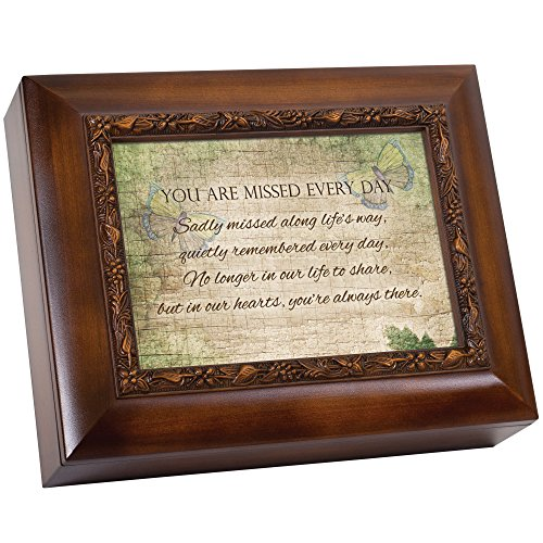 Cottage Garden You are Missed Every Day Quietly Woodgrain Embossed Ashes Bereavement Urn Box