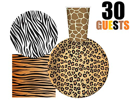 Leopard Print Paper Plates (Serves 30 | Complete Party Pack | Jungle Safari Zoo Animal Print Party Supplies | 9