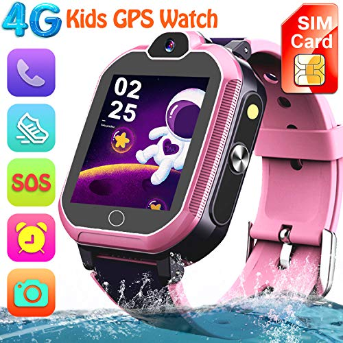 【4G GPS Tracker Watch】Kids Smartwatch with Locator, Sport Waterproof Watch Inbuilt SIM Card, Calls, Video & Voice Chat, Pedometer Flashlight Camera Alarm Games - Children Students School Travel (pink)