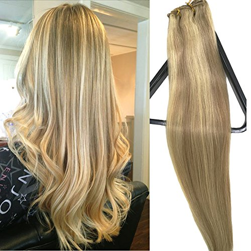 Clip in Extensions Human Hair With Dirty Blonde Highlights 7 Pieces 70 Gram Silky Straight Weft Remy Real Hair (22 Inches, #18-613)