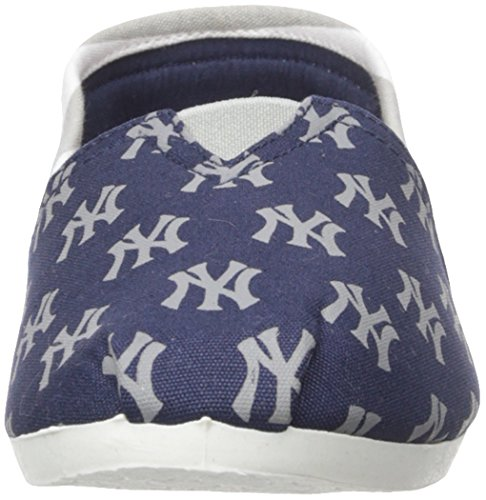 New York Yankees Womens MLB Slip On Canvas Stripe Shoe Slippers