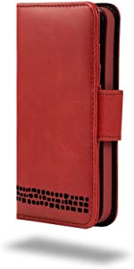 iPhone SE/iPhone 5 5S Case – Ed Hicks iPhone SE Leather Case – Genuine Leather – Luxury Folio Wallet Flip – Card Slots – Bill Pocket – Color Matched Phone Holder. Vintage RED with Black Detailing