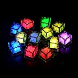 CDQ Multicolor Light Decorative LED Liquid Sensor Ice Cubes Shape Lights Submersible LED Glow Light Up for Bar Club Wedding Party Champagne Tower Decoration Flash Light -24 Pack