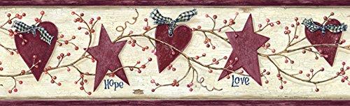 Chesapeake PUR44533B Dorothy Rose Star Heart Sprig Wallpaper Border ()
