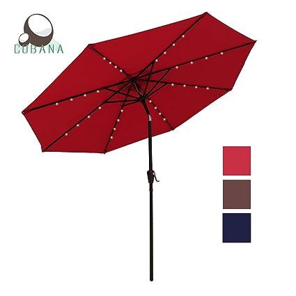 COBANA 9 Ft 32 Solar Powered LED Lighted Outdoor Table Umbrella Aluminum Patio  Umbrella, 100