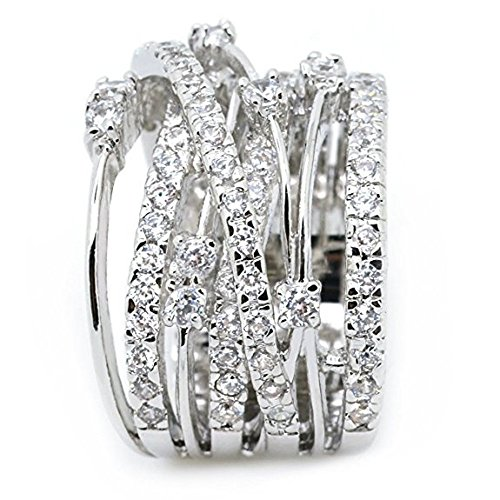 Kalinyer Ring Bands for Women, Statement Promise Ring Pave Zirconia Fashion Knuckle Rings Wedding Plated Ring(White, 9#) ()
