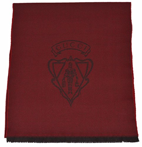 Gucci Men's 100% Wool Hysteria Logo Scarf Muffler (Burgundy Red) (Scarf Logo Wool)