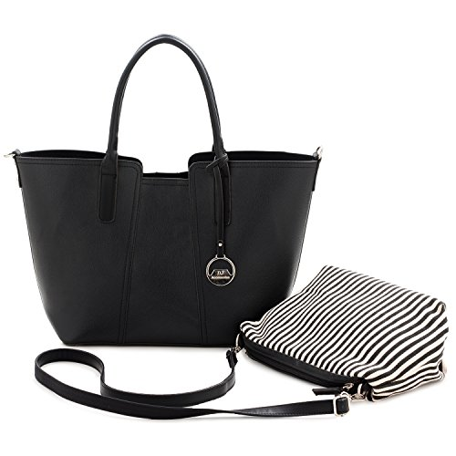 DAVIDJONES Women Shoulder Bag 2 Piece Tote Bag Pu Leather Handbag Purse Bags Set