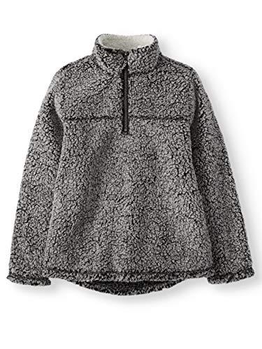 Wonder Nation Baby Boys Quarter Zip Super Soft Sherpa Pullover (3T, Black Soot)