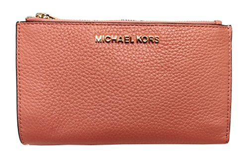 Michael Kors Jet Set Travel Double Zip Leather Wristlet Wallet In Peach