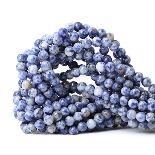 CHEAVIAN 60PCS 6mm Natural Blue White Sodalite Gemstone Round Loose Beads for Jewelry Making 1 Strand ()