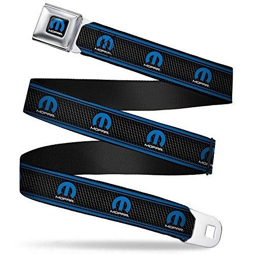 Buckle-Down Seatbelt Belt - MOPAR Logo/Stripe/Grill Black/Grays/Blues - 1.5