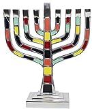 Majestic Giftware MN600 9.75'' Multicolor Menorah Aluminum Candelabra