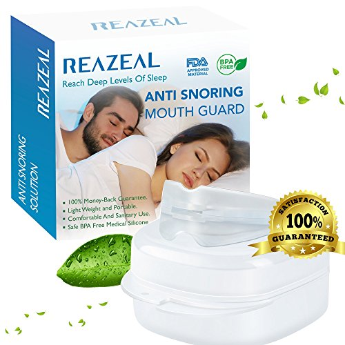 Reazeal Snore Stopper Mouthpiece - Snoring Solution, Sleep Aid Night Mouth Guard Bruxism Mouthpiece, Best anti snoring device, sleep well and quiet sleeping night (5 New Latex Looks)