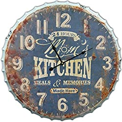 Round Mom's Kitchen Decorative Metal Wall Clock Retro Antique Look Bottle Cap 3D Extra Large 24 x 24 Inches Quartz movement