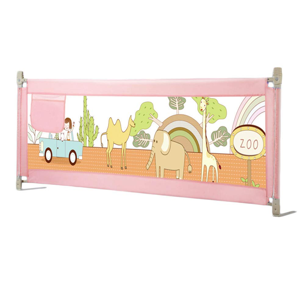 Baby Bedside Rail Guards Bed Fence for Baby Safety Heights Adjustable Baby Bed Guard 59 inch (Pink)