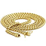 """Mens Gold Tone 6mm 24"""""""" Heavy Thick Flat Cut Double Clip Box Lock Cuban Chain Necklace"""