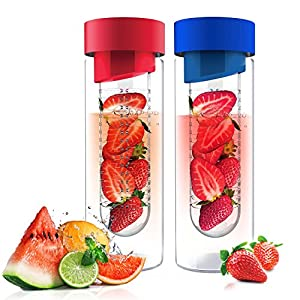 Fruit Infuser Glass Flavor it Water Bottle For Naturally Flavored Water by Asbou 20 Oz (2 Pack) Red Blue