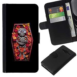 Be-Star la tarjeta de Crédito Slots PU Funda de cuero Monedero caso cubierta de piel Samsung Galaxy Core Prime ( Skull Coffin Death Diamond Skeleton )