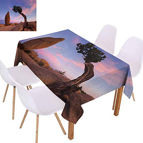(UHOO2018 Americana,Premium Tablecloth,Bonsai Trees Twilight Blue Hour Peaceful Nature Rock Formation,Great for Buffet Table, Parties,Violet Blue Pink Light Brown,50
