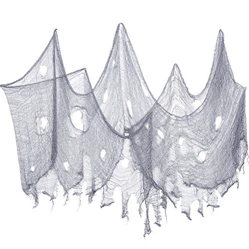 Pangda Creepy Cloth Halloween Decorations Party Supplies Spooky Halloween Creepy Cloth Decorative Door Hanger (8 Yards x 30 Inches, Gray)