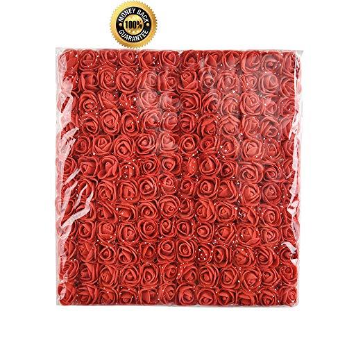 Artificial Foam Rose Multicolor PE Flowers Head DIY Parts Hair Band Ornaments Wreath Wedding Simulation Garland 144 PCS 2cm (red) ()