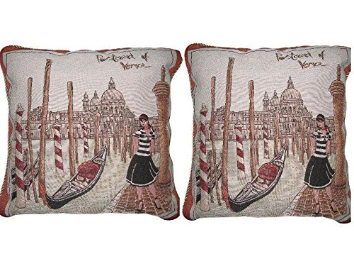 (DaDa Bedding Throw Pillow Covers - Set of Two Postcard of Venice - Elegant Colorful Europe Italy Travel Decor - 2-Pieces - 18