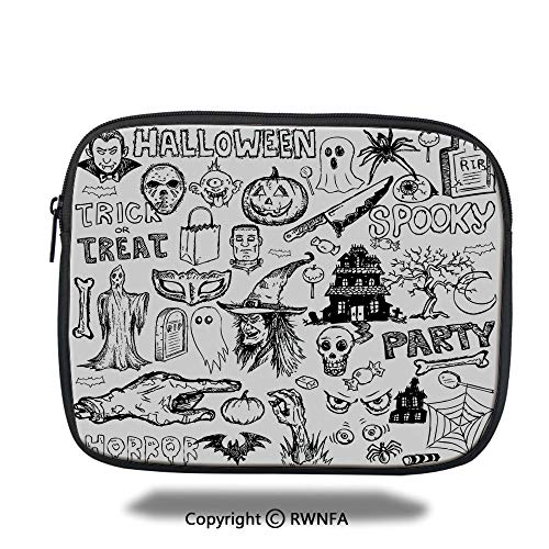 Ipad Bag,Hand Drawn Halloween Doodle Trick or Treat Knife Party Severed Hand Decorative,10.8