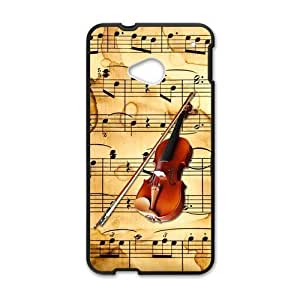 HTC One M7 Case,Vintage Music Sheet Music Notes Page And Retro Violin High Definition Wonderful Design Cover With Hign Quality Rubber Plastic Protection Case