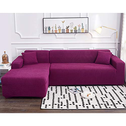JJ-SFC High Stretch Sofa Couch Cover,l-Shape Universal Couch Covers,1-Piece Chaise Sofa Slipcover Elastic Couch Shield Furniture Protector for Pets Dogs-Purple 4 Seater(93-118inch)