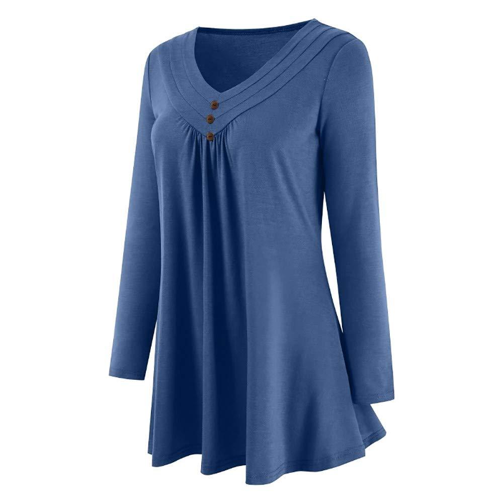 Yvelands Blusas para Mujer Tallas Grandes, Mujer Otoño Vestido Suelto Botón con Cuello en V Camisa de Manga Larga Top Blusa.: Amazon.es: Ropa y accesorios