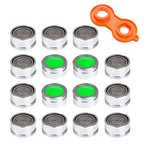 FOCCTS 16pack 15/16 Inch Male Thread Faucet Aerator 1.5gpm Low Flow Water Saving Tap Aerator with Wrench for Kitchen Sink Bathroom Bath -