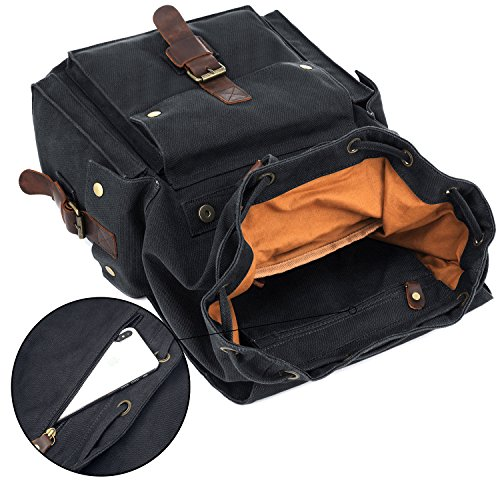 41c5eaad7a Kattee Men s Canvas Leather Hiking Travel Backpack