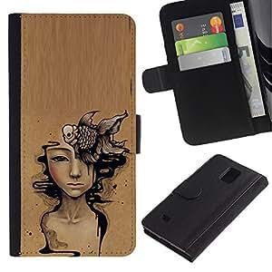 Paccase / Billetera de Cuero Caso del tirón Titular de la tarjeta Carcasa Funda para - Art Deep Meaning Brown Painting - Samsung Galaxy Note 4 SM-N910