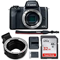 Canon EOS M50 Mirrorless Digital Camera (Black) Body Only Kit with Auto (EF/EF-S to EF-M) Mount Adapter + 32GB Sandisk Memory