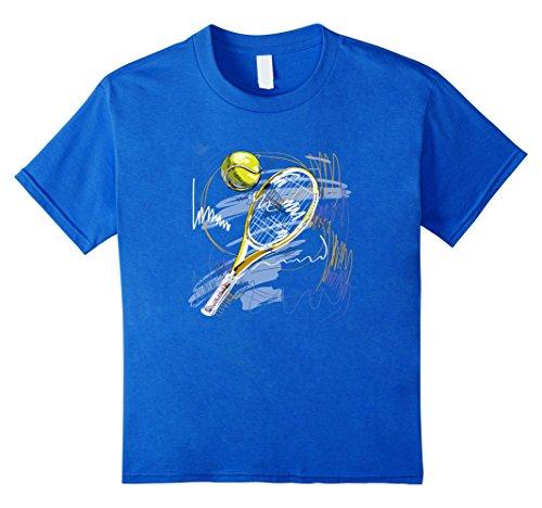 Kids Tennis T-Shirt Player Racket Ball Pencil Art Cool Sports Tee 8 Royal Blue