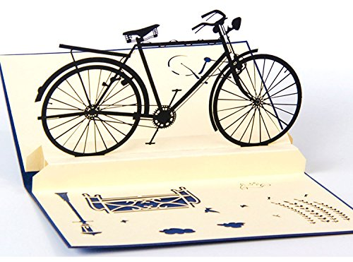 Bicycle Birthday Card (IShareCards New Arrival 3D Pop Up Thank You Greeting Cards for Every Occasion - Bicycles Series (Retro Bike Blue Front))