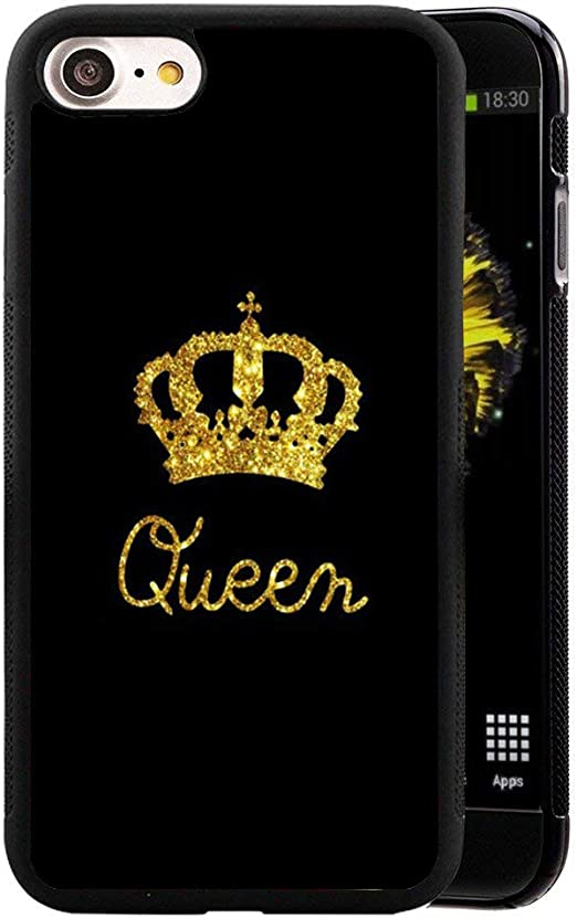 for iPhone 8/ iPhone 7 Case King Queen Best Friend Lovers Couple Slim Fit Black Cell Phone Accessories Queen & King Design Soft TPU Protective iPhone ...
