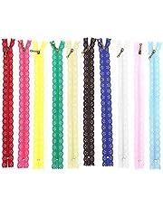 10st kant rits, kant gesloten ritsen gemengde stijl knop zijde vorm nylon afwerking rits voor portemonnee tassen DIY naaien kleermaker ambachtelijke bed tas 25cm