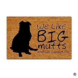 msmr Felpudo entrada Felpudo we like big mutts y no podemos Lie antideslizante Felpudo 23.6por 15,7pulgadas Máquina lavable tela no tejida