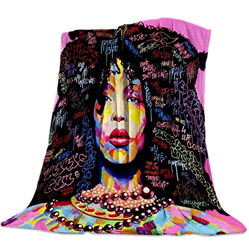 - Flannel Fleece Blanket 49x59inch African American Afro Girls Women Black Hair Colorful Ultra Soft Lightweight All-Season Throw/Blanket for Sofa Couch Bed