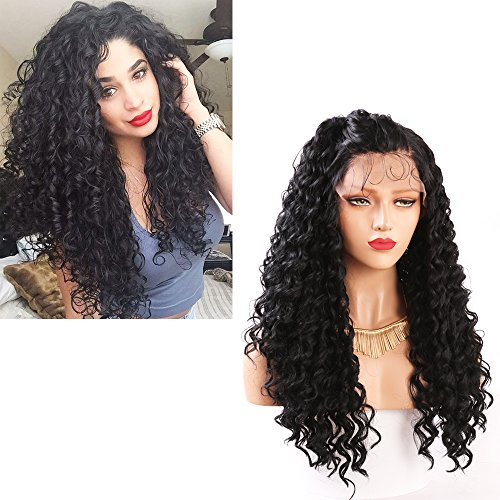 Hairline Synthetic Hair Lace - Andria Lace Front Wigs Curly Wig Long Fashion Loose Curly Glueless Swiss Natural Black Heat Resistant Hair Synthetic Wig Natural Hairline with Baby Hair Fiber Lace Wigs For Women (22 Inch Black Color)