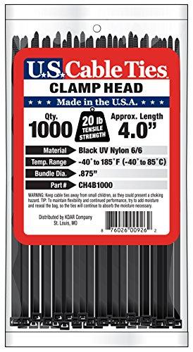 [해외]미국 케이블 타이 CH4B1000 4 인치 클램프 헤드 타이, UV 검정, 1000 팩/US Cable Ties CH4B1000 4-Inch Clamp Head Ties, UV Black, 1000-Pack