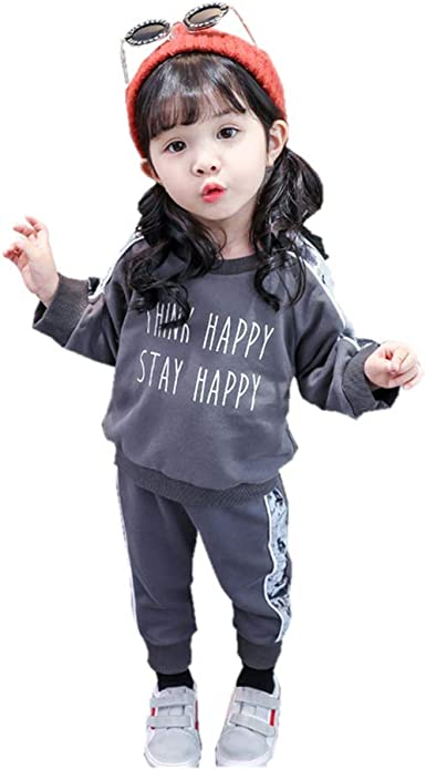 Webla Kids Girls Tracksuit Long Sleeve Heart Print Sweatshirt+Pants Outfits Set Ages 2-7 Years 4-5T, Grey