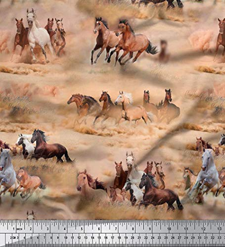 Soimoi Cotton Cambric Fabric Horse Print Brown Craft Material 58 Inches Wide by The Yard -