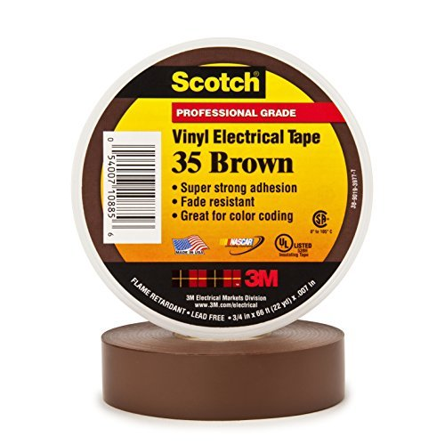 3M Scotch #35 Electrical Tape, Brown, .75-Inch by 66-Foot by .007-Inch Color: Brown Size: 3/4 in. x 66 ft. Model: 10885-BA-5 (Hardware & Tools Store)